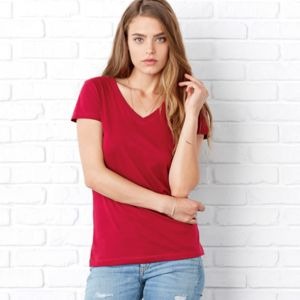 +Canvas Ladies' Short-Sleeve V-Neck Jersey Tee Thumbnail