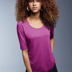 Ladies' Tri-Blend Deep Scoop 1/2-Sleeve Tee Thumbnail